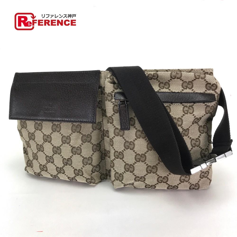 c83dd405f79379 GUCCI Gucci 28566 belt bag waist porch men gap Dis body bag GG canvas x  leather ...