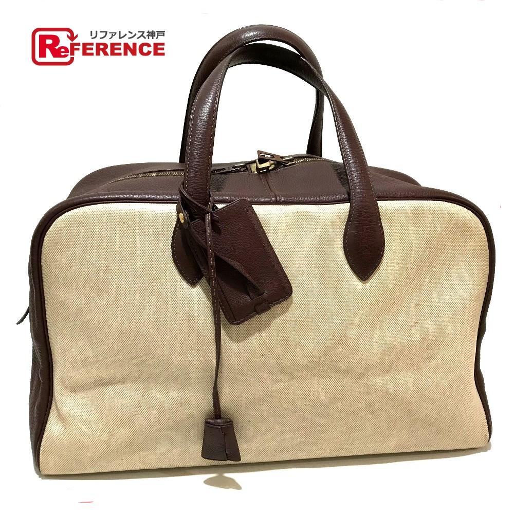 7a8658c04860 AUTHENTIC HERMES Tote Bag Victoria 43 Men s Women s Duffle Bag Marron Brown  Toile H Leather