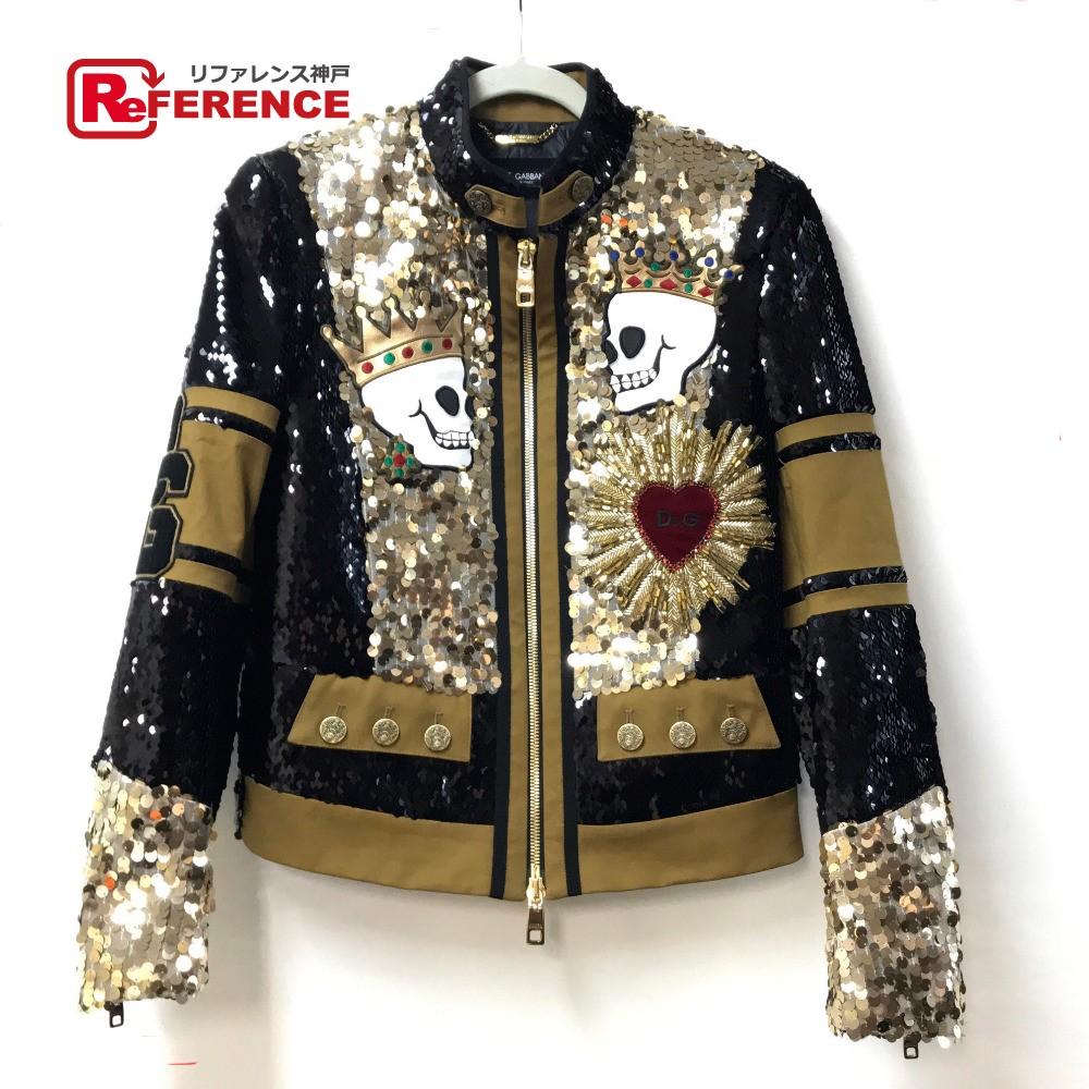 DOLCE&GABBANA ドルチェアンドガッバーナ ジャケット 上着 ジャンパー アウター スパンコール ドクロ ハート 装飾 ブルゾン ポリエステル/コットン/スパンデックス ゴールド メンズ【中古】