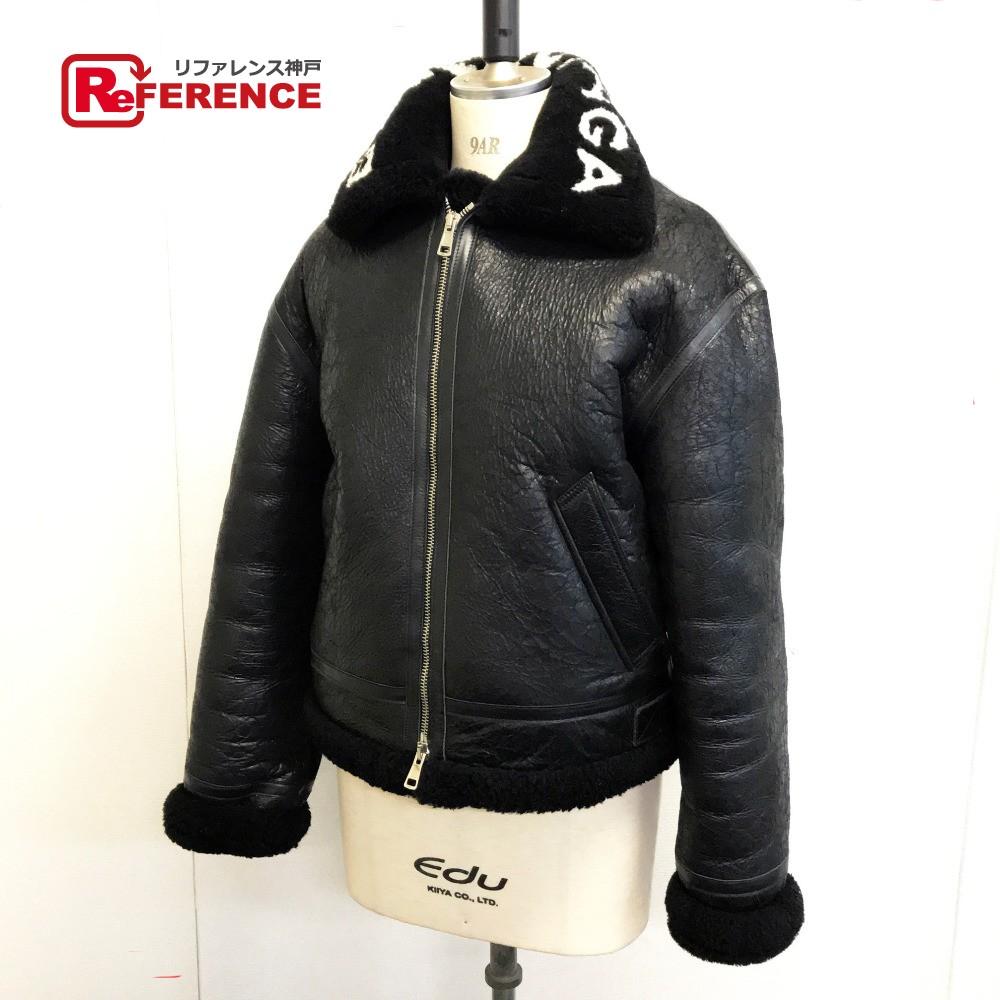 BALENCIAGA バレンシアガ レザージャケット 上着 ロゴカラーボアムートンレザーシアリングボンバージャケット ブルゾン レザー/ ブラック メンズ【中古】