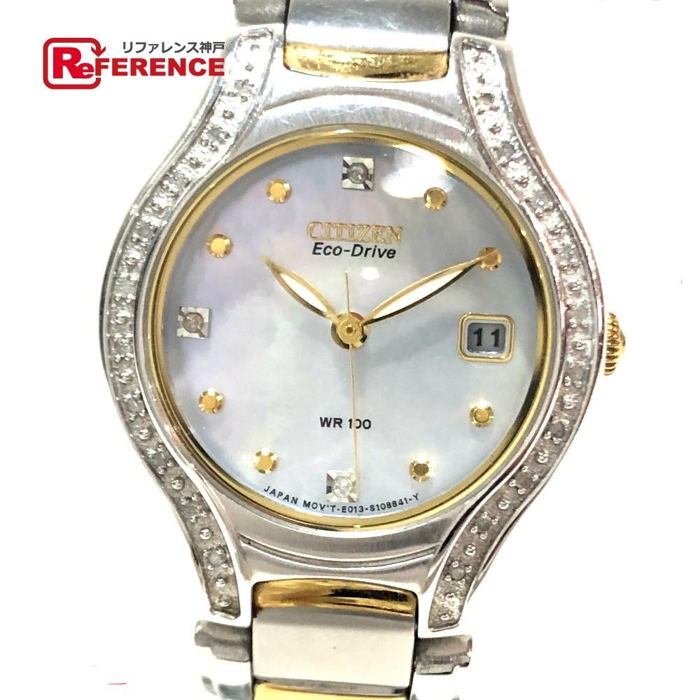 CITIZEN シチズン E013-S075025 エコドライブ レディース腕時計 デイト 腕時計 SS×GP シルバー×ゴールド レディース【中古】