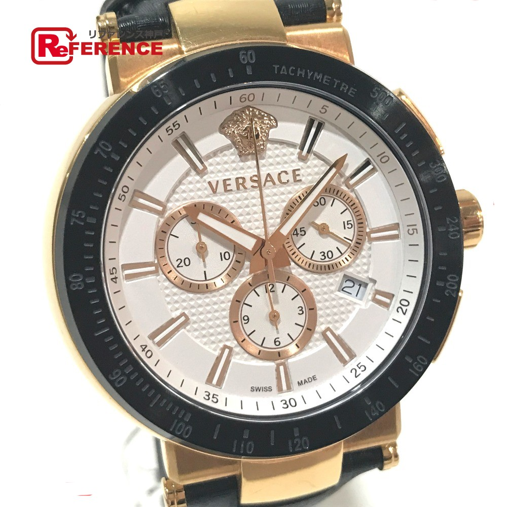 VERSACE ヴェルサーチ VFG101404990129 メンズ腕時計 ミスティック スポーツ メデューサ クロノグラフ デイト 腕時計 SS/革ベルト ゴールド メンズ【中古】