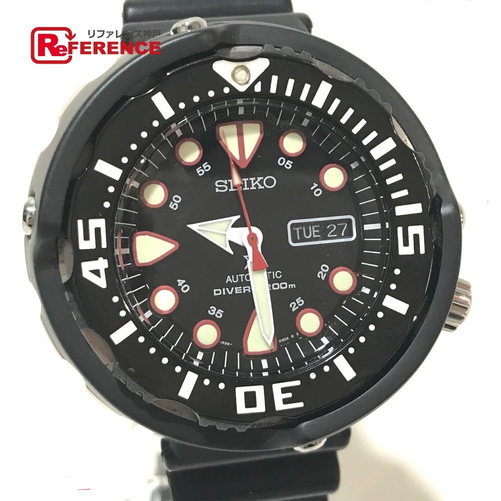 SEIKO セイコー SRP655K1 メンズ腕時計 プロスペックス メカニカル ダイバーズ デイデイト 腕時計 セラミック/ラバーベルト ブラック メンズ【中古】