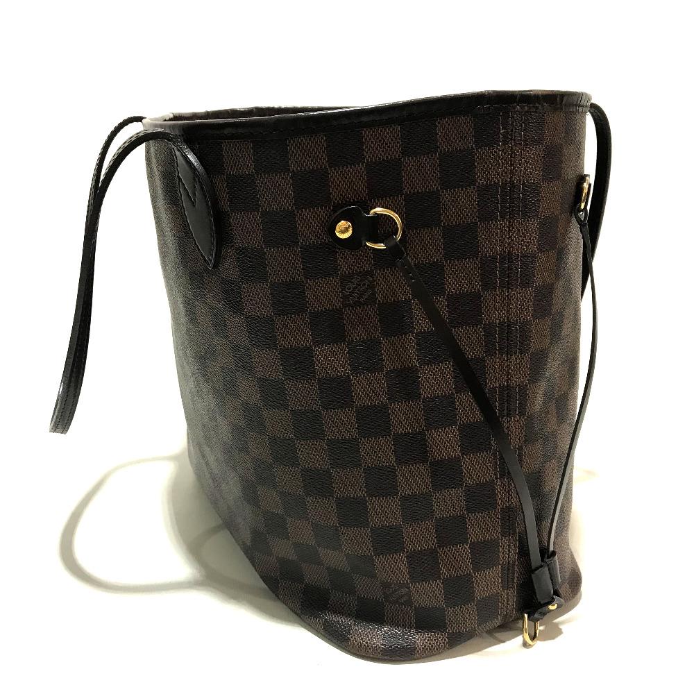 9b6eace14c83 AUTHENTIC LOUIS VUITTON Damier Neverfull MM Shoulder Bag Tote Bag Ebene  DamierCanvas N51105