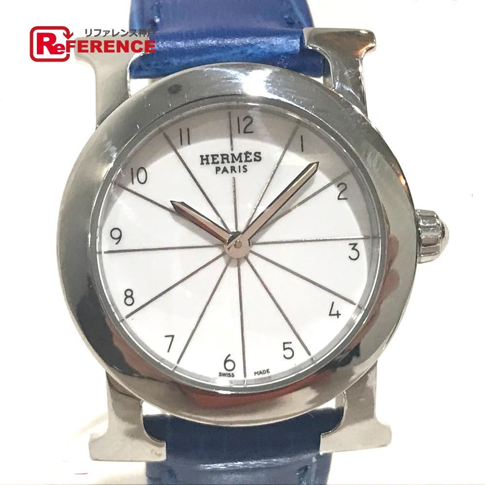HERMES エルメス HR1.210 レディース腕時計 Hウォッチ ロンド 腕時計 SS/革ベルト シルバー レディース【中古】