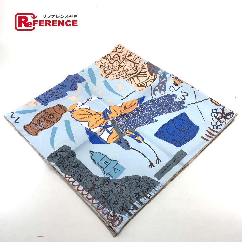 HERMES エルメス カレ La Maison des Oiseaux Parleurs (おしゃべりな鳥たちの家) スカーフ シルク100%/ ライトブルー系 レディース 未使用 現行品【中古】