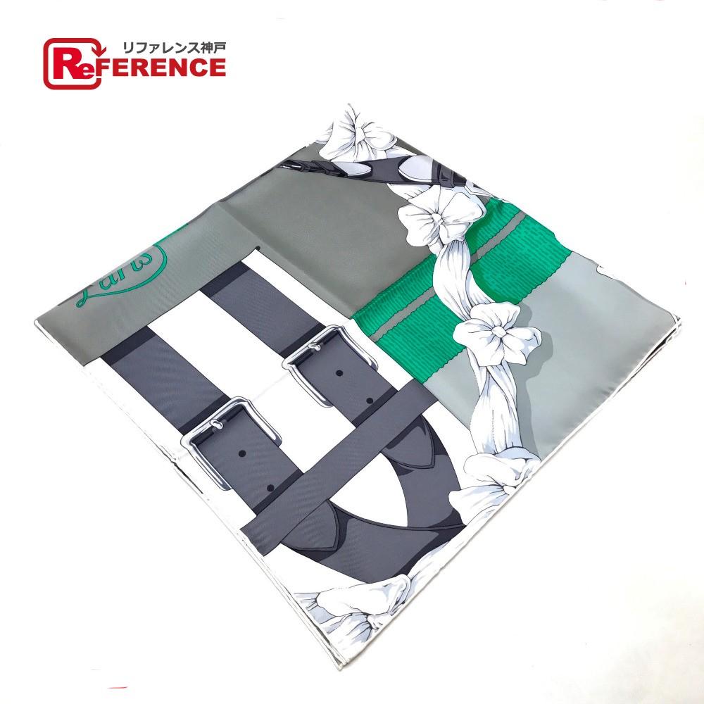 HERMES エルメス カレ 90 Grand Manege(大調教術 )  スカーフ シルク100%/ グリーン レディース【新品】
