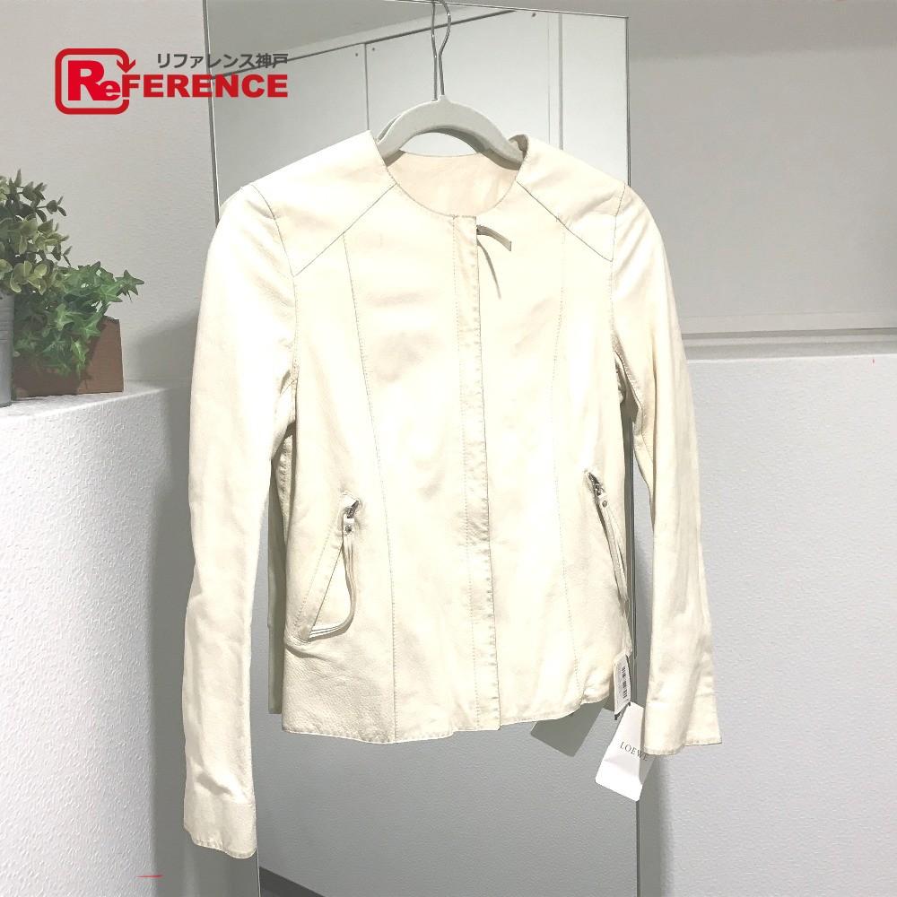 LOEWE ロエベ S116816PK ジャケット アウター 革ジャン タグ有 ライダースジャケット ラムレザー ホワイト レディース【中古】