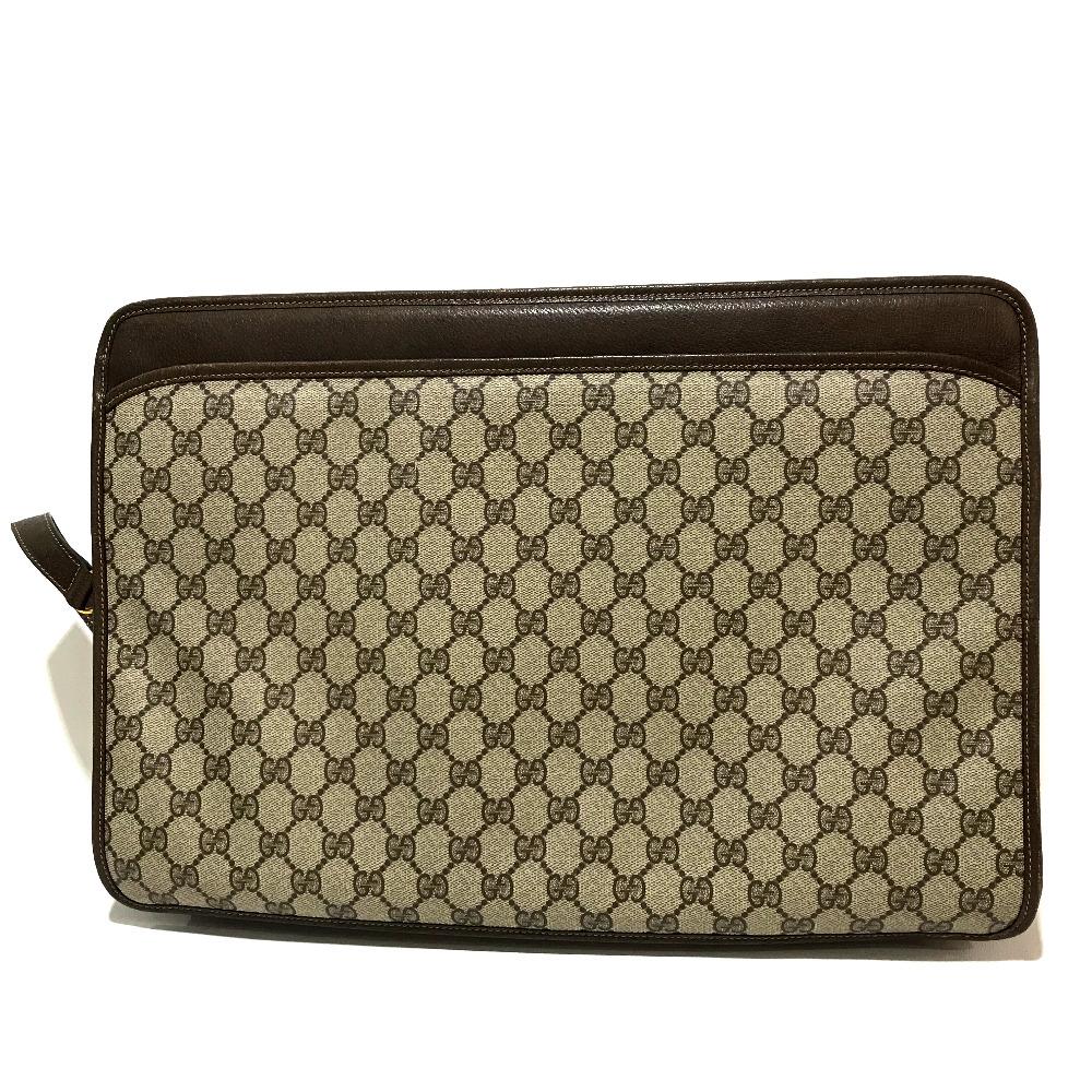 472c285c7c5 AUTHENTIC GUCCI Old Gucci Shelly line GG Plus 2WAY business bag Shoulder Bag  Beige x brown PVC x Leather 4120