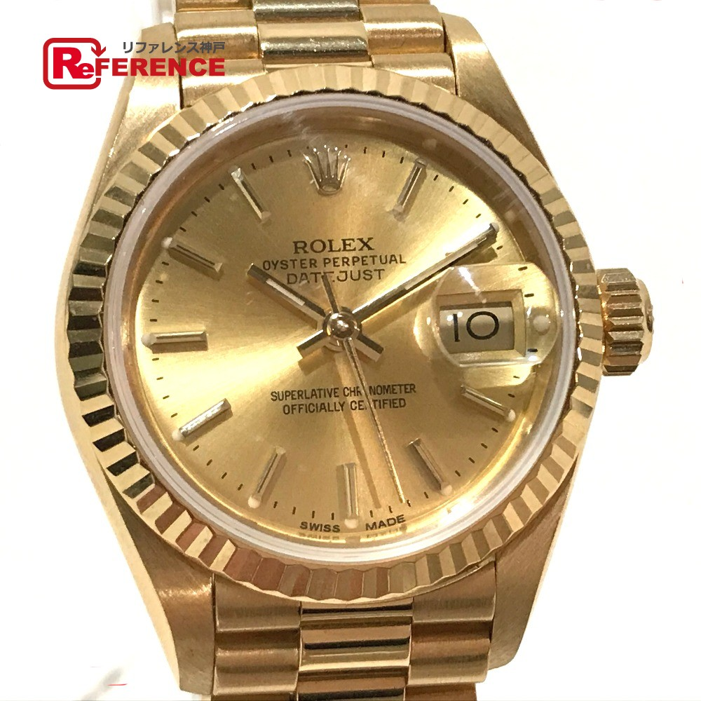 3c7686f7e86 AUTHENTIC ROLEX pure gold Datejust Oyster Perpetual Women's Watch Wristwatch  Yellow Gold K18 Yellow Gold 69178 ...