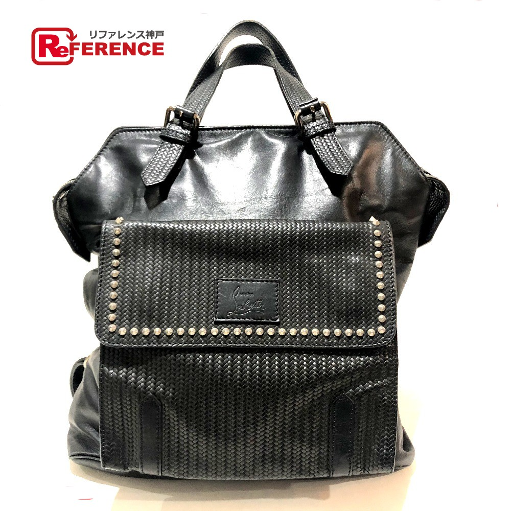 a6070dda4251fc AUTHENTIC Christian Louboutin Spike Studs Tote Bag Backpack 2way bag Black  Leather