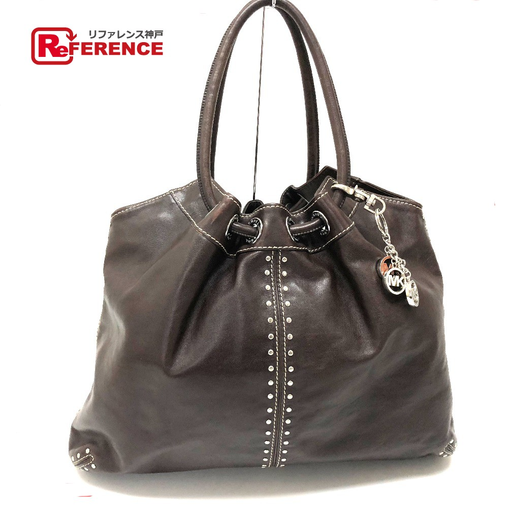 8854be18c681 AUTHENTIC Michael Kors Shawl Logo charm Tote Bag Shoulder Bag Dark Brown  Leather/E1