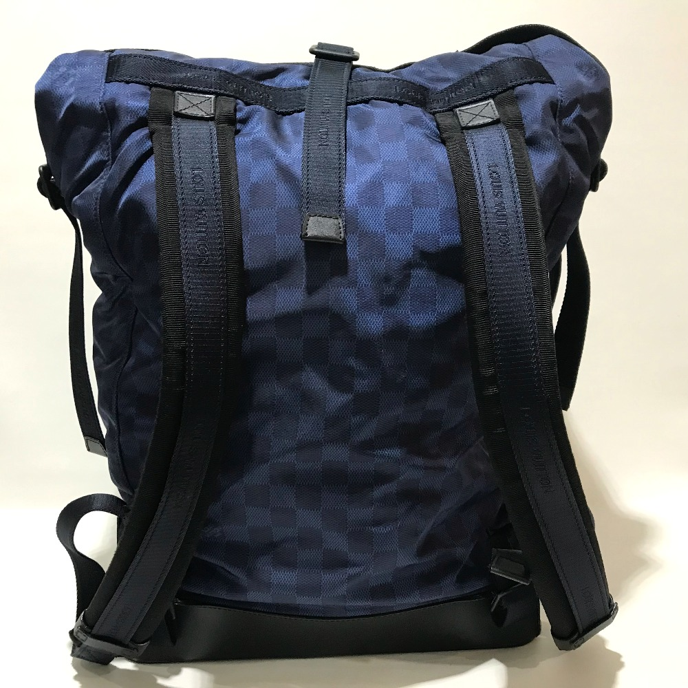 28d915029d BRANDSHOP REFERENCE  AUTHENTIC LOUIS VUITTON 2012 LV Cup Collection Damier  Challenge Sirocco Backpack Backpack Backpack-Bag Navy x Black Nylon x  Leather ...