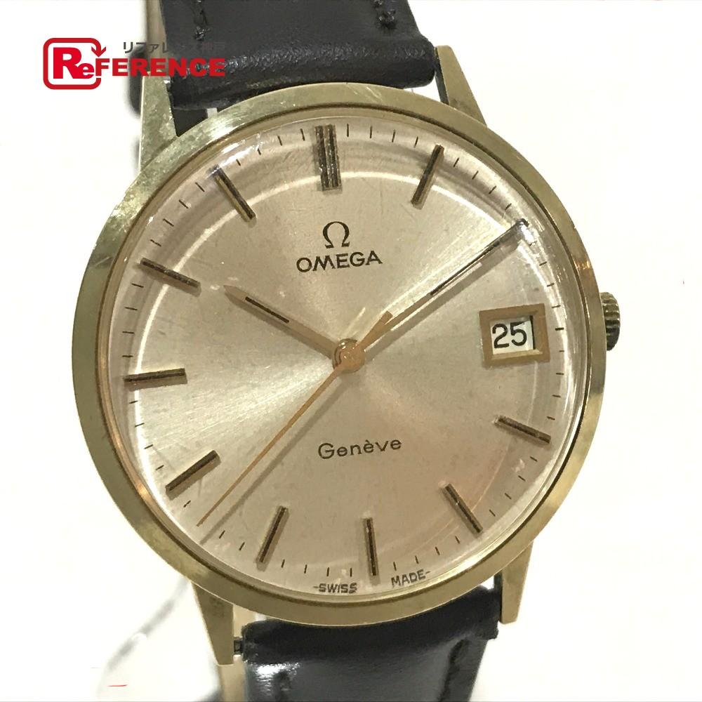 OMEGA オメガ メンズ腕時計 ジュネーブ デイト K14無垢 腕時計 K14/革ベルト ゴールド メンズ【中古】