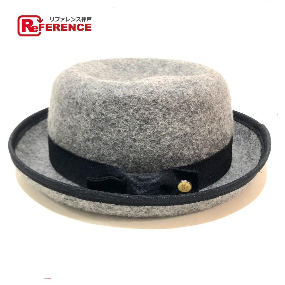 MONCLER モンクレール ハット帽 タグ有 メンズ レディース リボンモチーフ 帽子 フェルト グレー系 ユニセックス【中古】