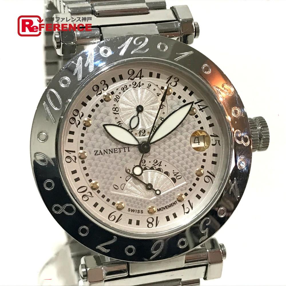 ZANNETTI ザネッティ ETA2892-A2 メンズ腕時計 ペガサスコレクション 200本限定 GMT パワーリザーヴ 腕時計 SS シルバー メンズ【中古】