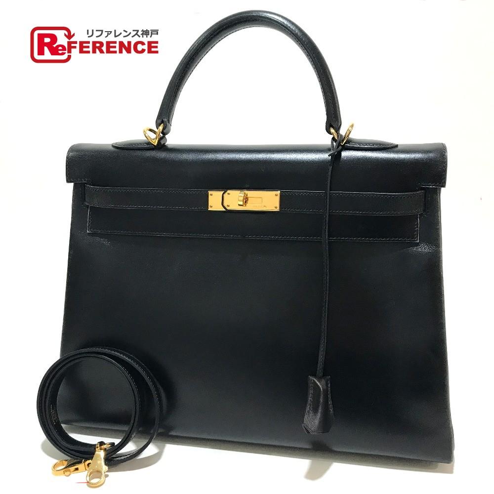 HERMES エルメス ハンドバッグ ショルダーバッグ 内縫い ケリー35 2wayバッグ ボックスカーフ ブラック レディース【中古】