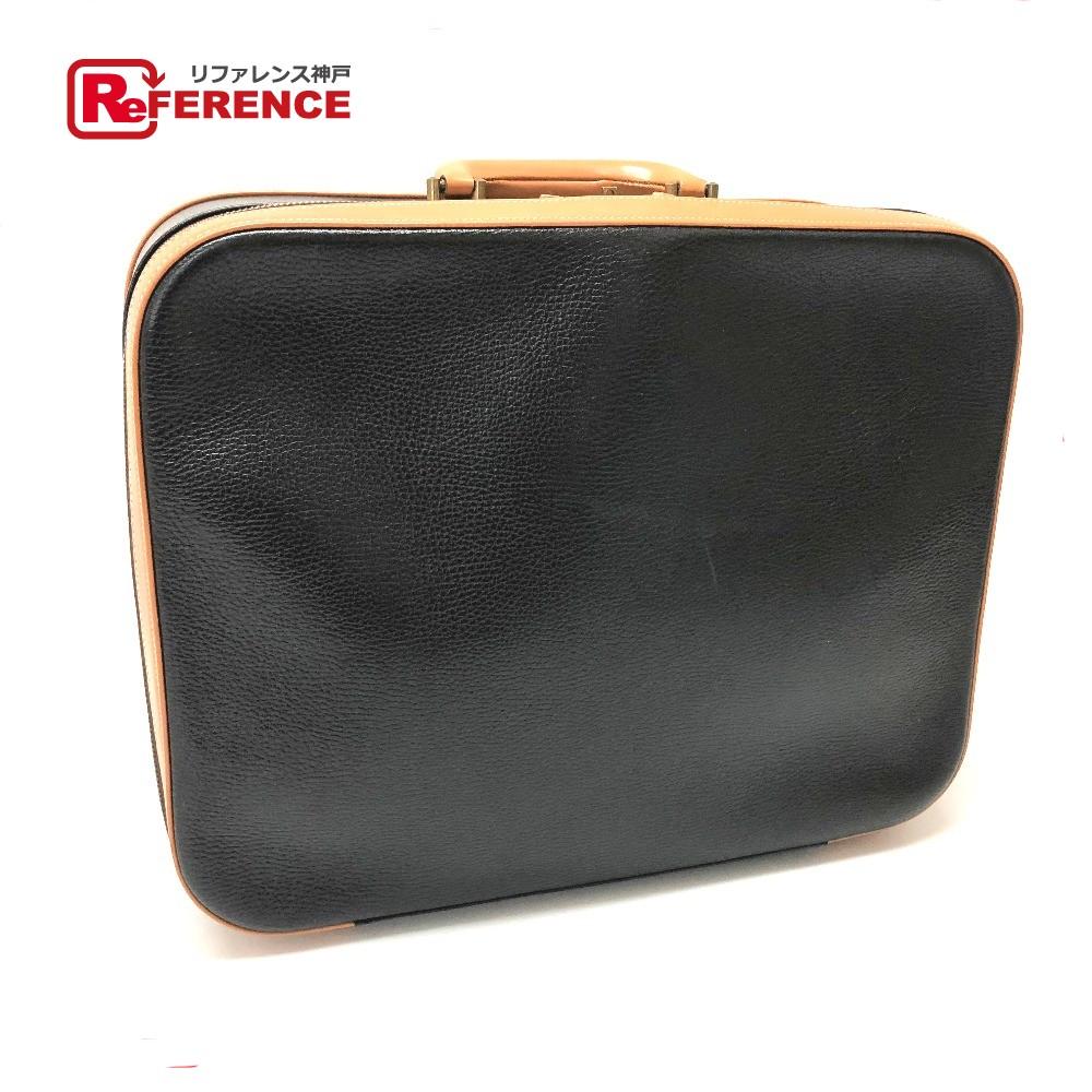 HERMES エルメス トートバッグ ハンドバッグ 旅行バッグ メルキュール45 トランク アルデンヌ/レザー ブラック レディース【中古】