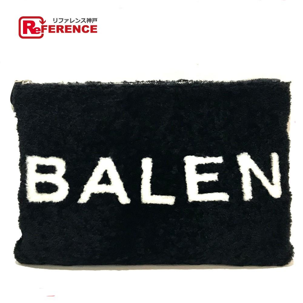 BALENCIAGA バレンシアガ 492681 メンズ レディース ボア シアリングポーチ クラッチバッグ ムートン ブラック ユニセックス【中古】
