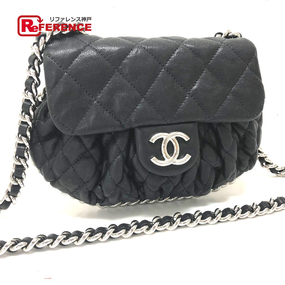 f0e6f67e1bb3f9 AUTHENTIC CHANEL Chain around Matelasse Chain bag Double Chain bag Pochette  Shoulder Bag Black Calf Leather ...