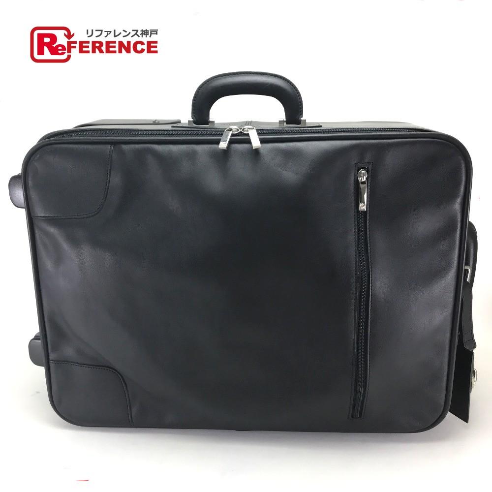 LOEWE ロエベ 2輪タイプ スーツケース メンズ レディース キャリーケース 旅行バッグ キャリーバッグ レザー ブラック ユニセックス【中古】