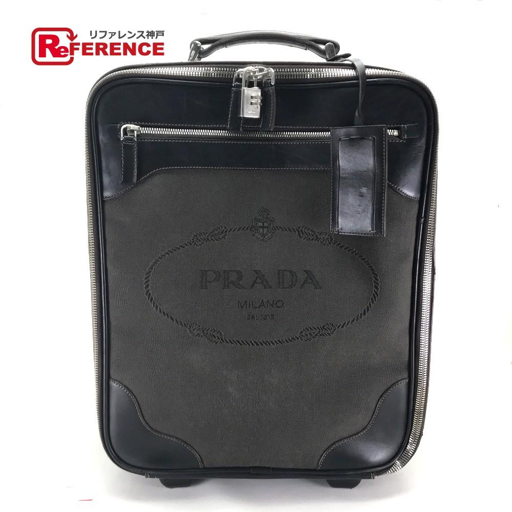 9f1040fc5 AUTHENTIC PRADA logo Men's Women's Suitcase travel bag Carry Bag Dark Brown  Canvas x Leather ...