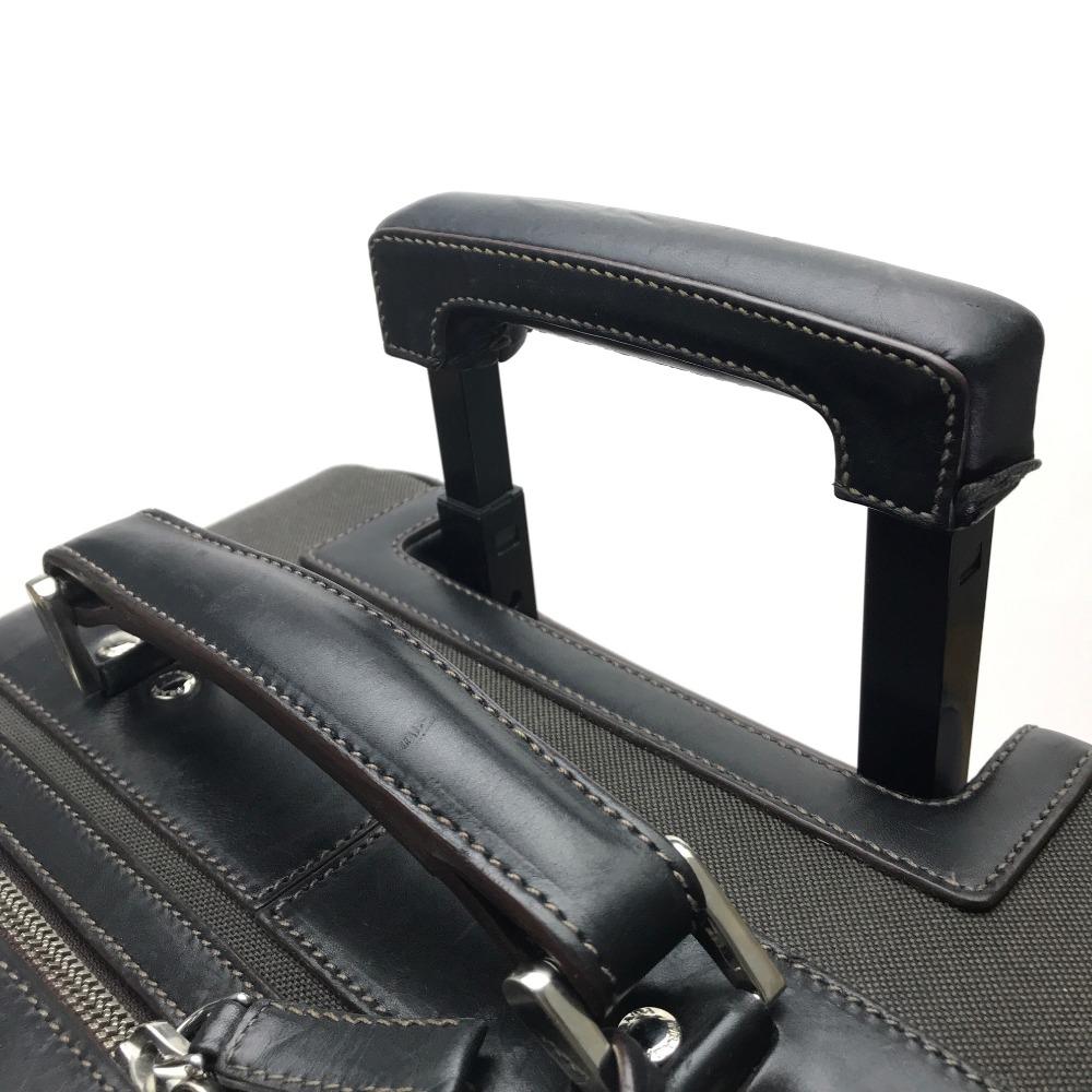 958ae91b4 ... AUTHENTIC PRADA logo Men's Women's Suitcase travel bag Carry Bag Dark  Brown Canvas x Leather ...