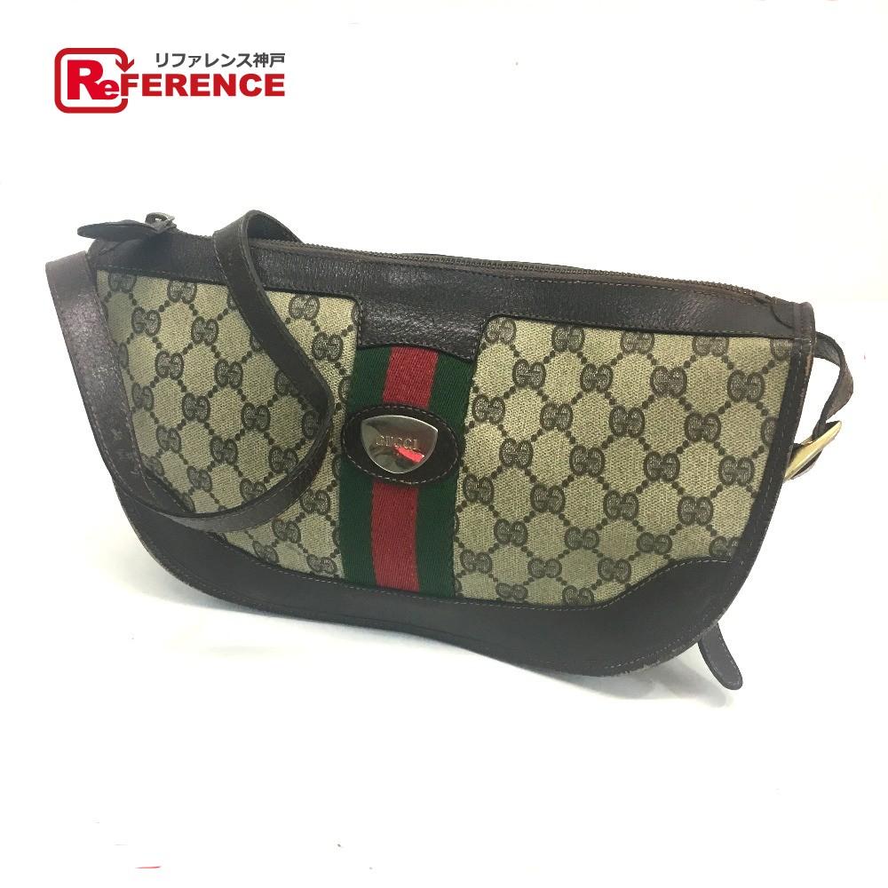 d94363429d64 AUTHENTIC GUCCI Old Gucci Logo Plate Shelly Line GG Plus Shoulder Bag  Beige/Dark Brown PVC x Leather