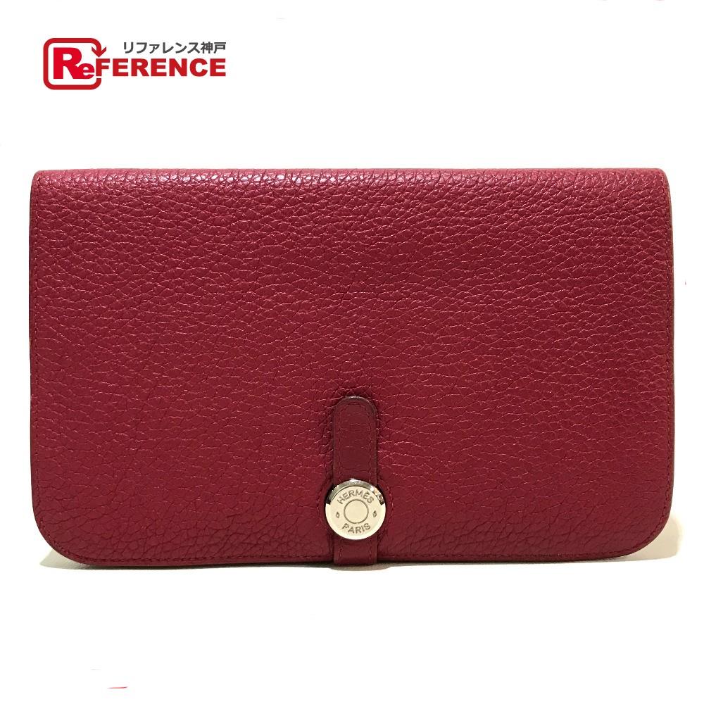 HERMES エルメス 長財布 ドゴンGM 二つ折り財布(小銭入れあり) トゴ ルビー レディース【中古】