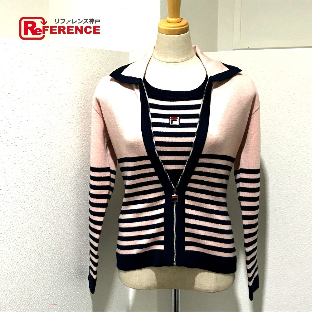 dafbc998dfe1 AUTHENTIC FILA Long sleeve border Jacket & vest 2-piece set knit Navy x  Pink BeigeBased E1 FA5GA2101