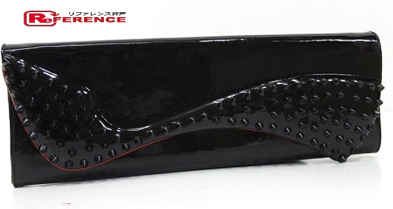 15826c0ca79 AUTHENTIC Christian Louboutin Unused Spike Studs Pigalle Enamel Party bag  Clutch bag Black Patent Leather 3120524