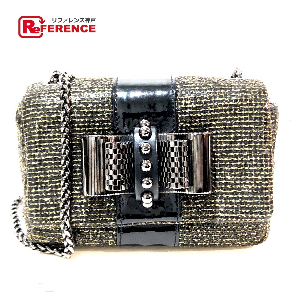 cozy fresh e3f31 119f4 AUTHENTIC Christian Louboutin Sweet charity Ribbon studs Glitter Mini  ChainShoulder Bag Shoulder Bag Black/Gold Grister Canvas/Patent Leather