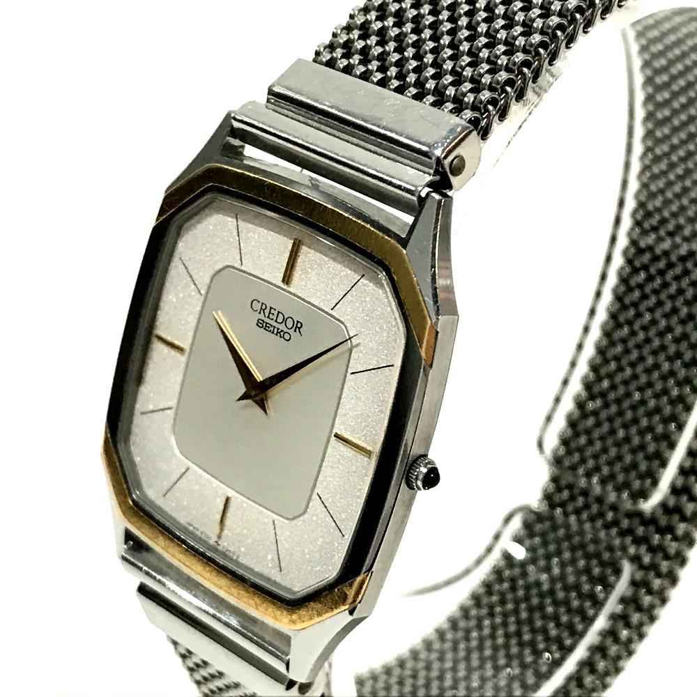 AUTHENTIC SEIKO CREDOR Boys Wristwatch Wristwatch Silver/Yellow Gold SS x  18K 6730-5130
