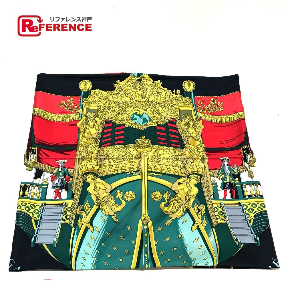 HERMES エルメス カレ90 Vue du Carrosse de la Galere la Reale(クイーンの戴冠式) タグ有り スカーフ シルク100% ブラック系xレッド レディース【中古】