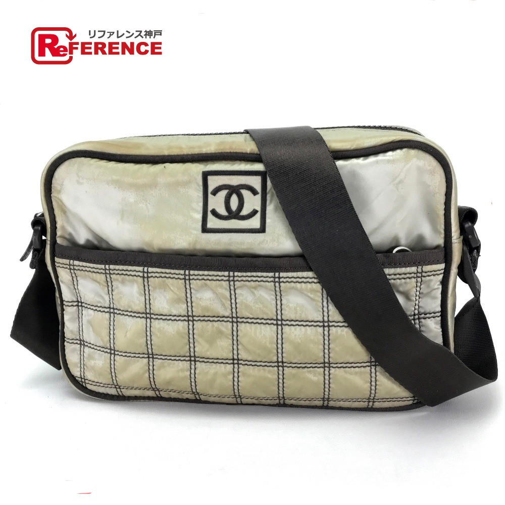 e38b5dbbfbd53e AUTHENTIC CHANEL Sports line Men's Women's Crossbody Messenger bag Shoulder  bag Beige/Brown Nylon ...
