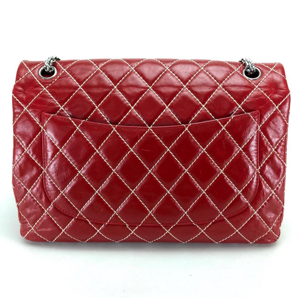 d67e7c5c4ec908 AUTHENTIC CHANEL Wild stitch Matelasse 30 Double Chain Shoulder Crossbody  Shoulder bag Red Calf Leather skin