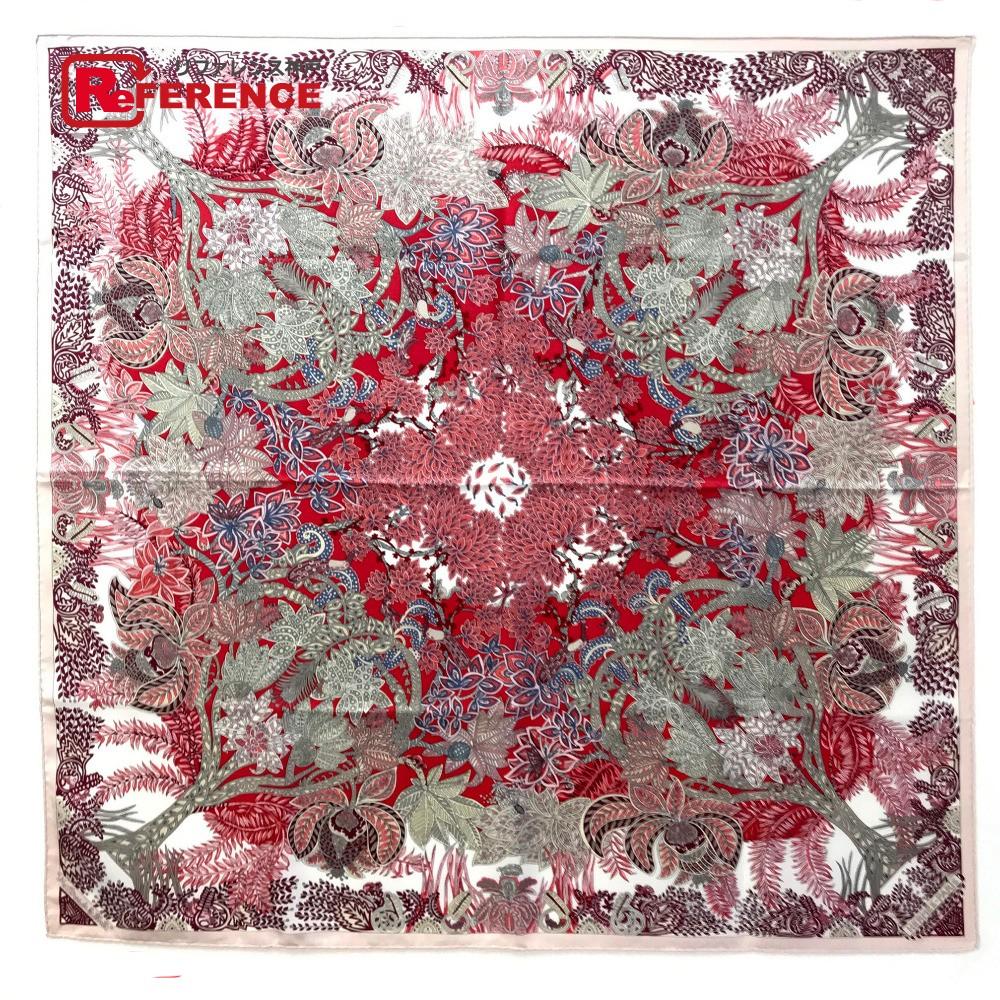 HERMES エルメス カレ90 Maitres de la Foret(森を司るもの) スカーフ シルク/ ピンク系 レディース【中古】