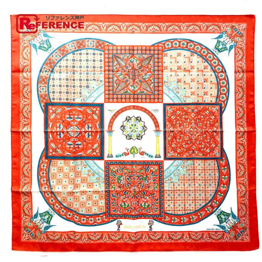 HERMES エルメス カレ90 CIELS BYZANTINS(ビサンチの空) スカーフ シルク/ オレンジ レディース 未使用【中古】