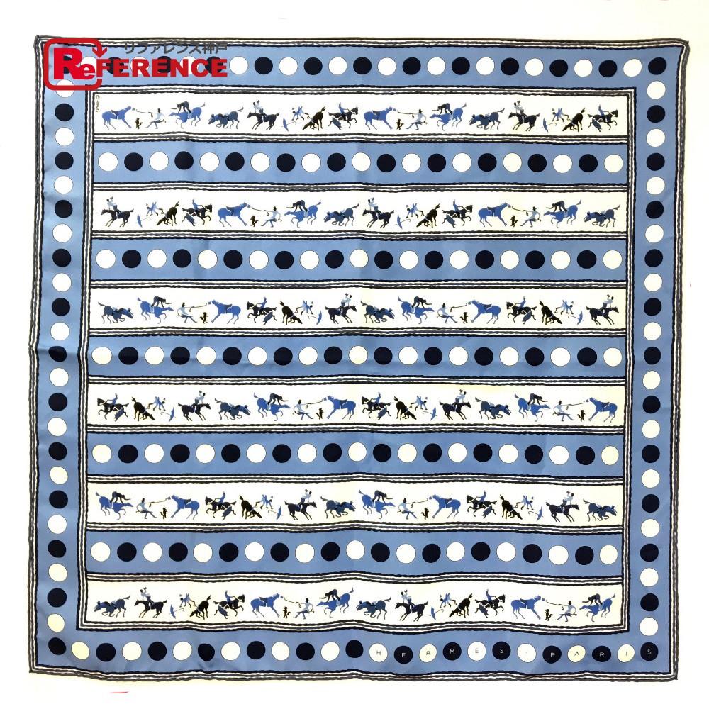HERMES エルメス カレ70 プチカレ 馬デザイン スカーフ シルク/ ライトブルー【中古】