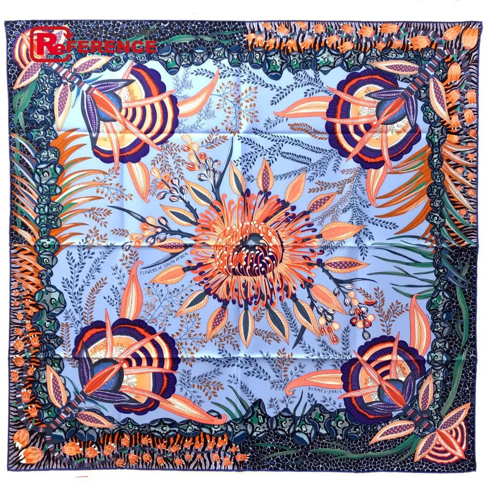HERMES エルメス カレ90 Flowers of South Africa(南アフリカの花々 ) 2017年秋冬コレクション スカーフ シルク/ ライトブルー系 レディース 未使用【中古】