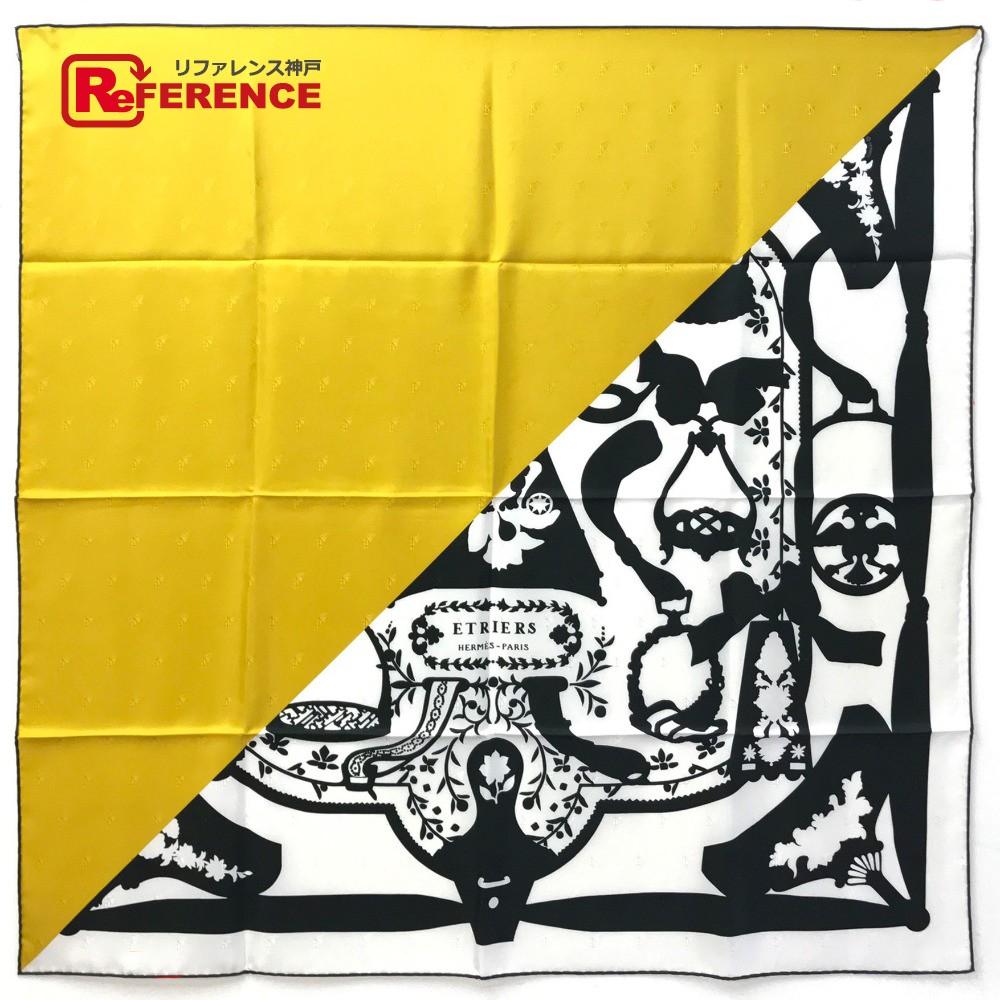 HERMES エルメス カレ90 タトゥアージュ Etriers (鎧 ) スカーフ シルク/ イエロー レディース 未使用【中古】