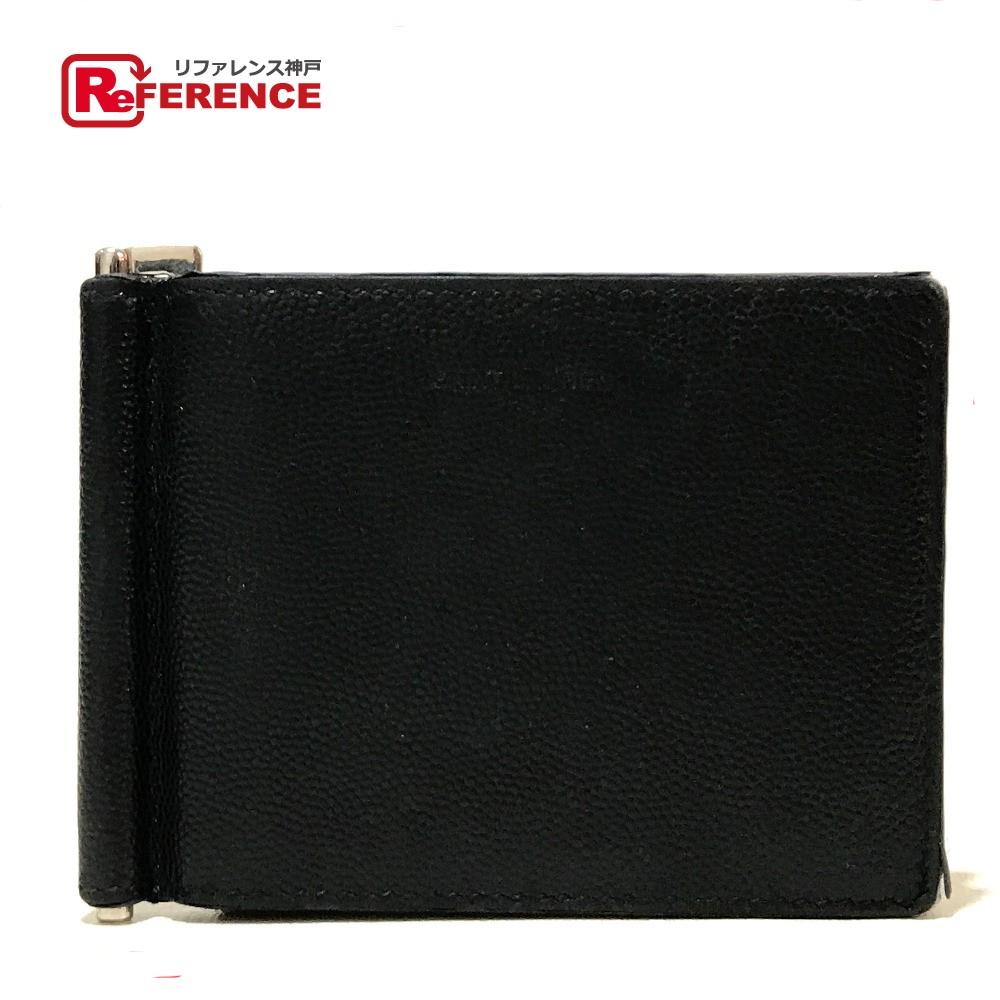 YVES SAINT LAURENT イヴ・サンローラン 378005 二つ折り 短財布 マネークリップ付 カードケース PVC ブラック メンズ【中古】