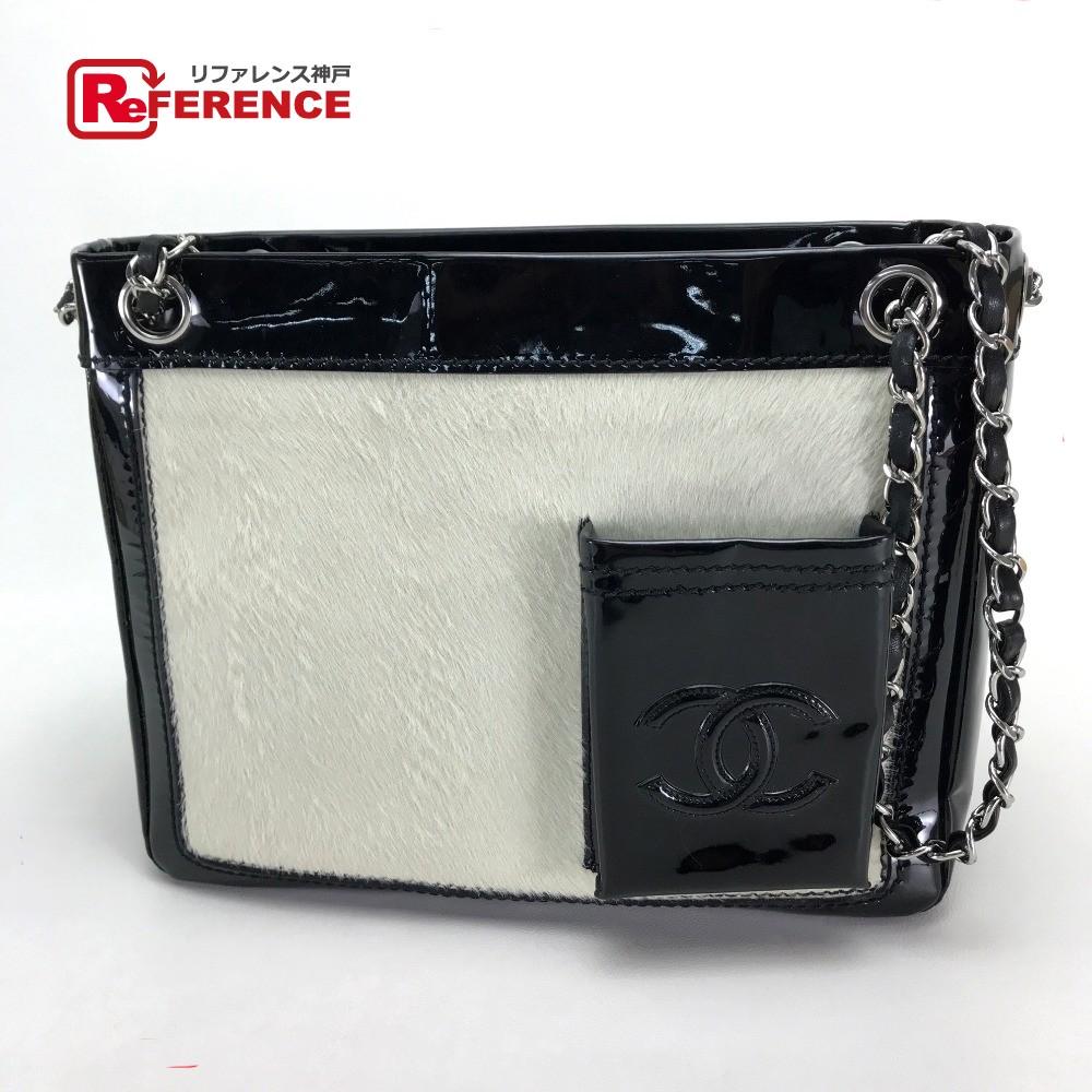 5efa03665e683f AUTHENTIC CHANEL CC Mark CC Chain square bag Shoulder Bag Shoulder Bag Tote  bag Black/White Pony-Hair/Patent Leather