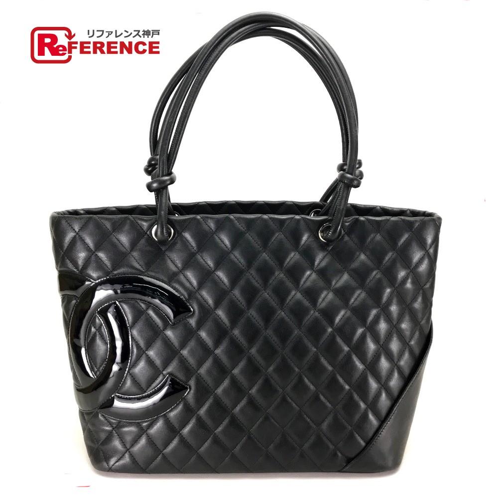 e456f7e297b1 AUTHENTIC CHANEL Cambon line Large Tote Shoulder Bag Shoulder Bag Tote bag  Black Calf Leather skin ...