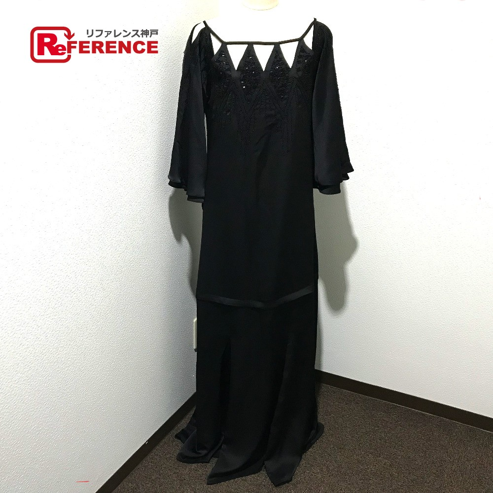 BCBGMAXAZRIA ビーシービージーマックスアズリア DTI6173403-001 ロングドレス 刺繍カットアウト ガウン ビジュースタッズ ワンピース ブラック レディース 未使用【中古】