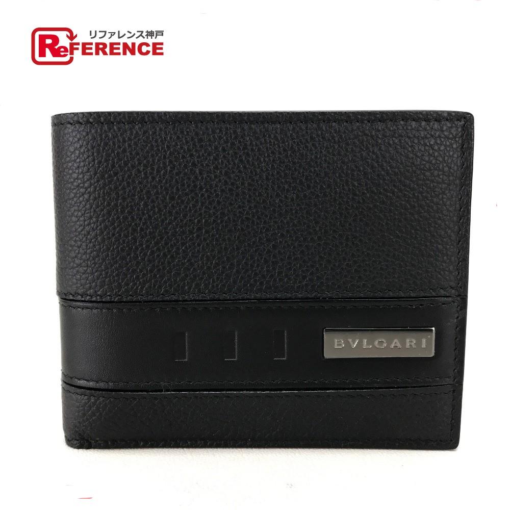 BVLGARI ブルガリ 281960 札入れ  ロゴプレート  メンズ レディース 二つ折り財布(小銭入れなし) レザー/ ブラック メンズ 未使用【中古】