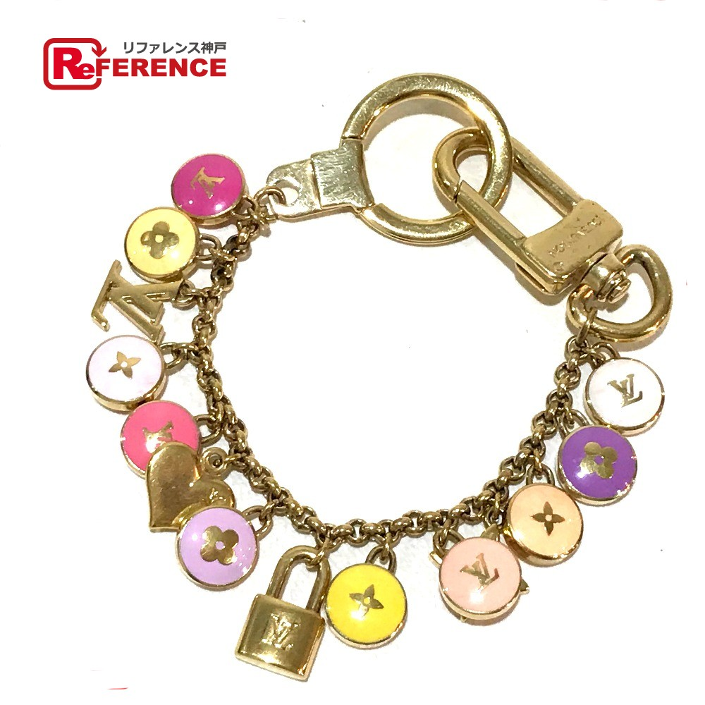 AUTHENTIC LOUIS VUITTON Bag charm Porte Cle-Chenne Pastilles Key ring Key  holder Gold x Multicolore Gold Plated M66172