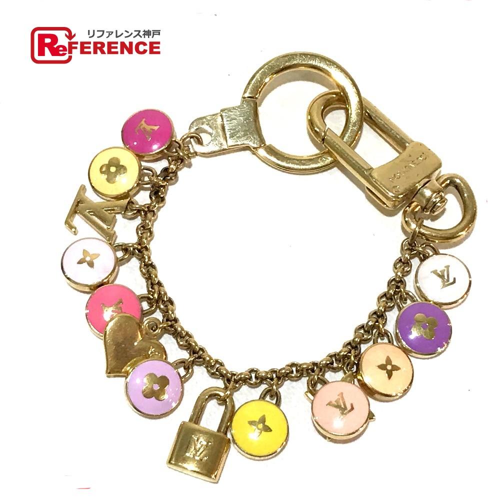 AUTHENTIC LOUIS VUITTON Bag charm Porte Cle-Chenne Pastilles Key ring Key  holder Gold x Multicolore Gold Plated M66172