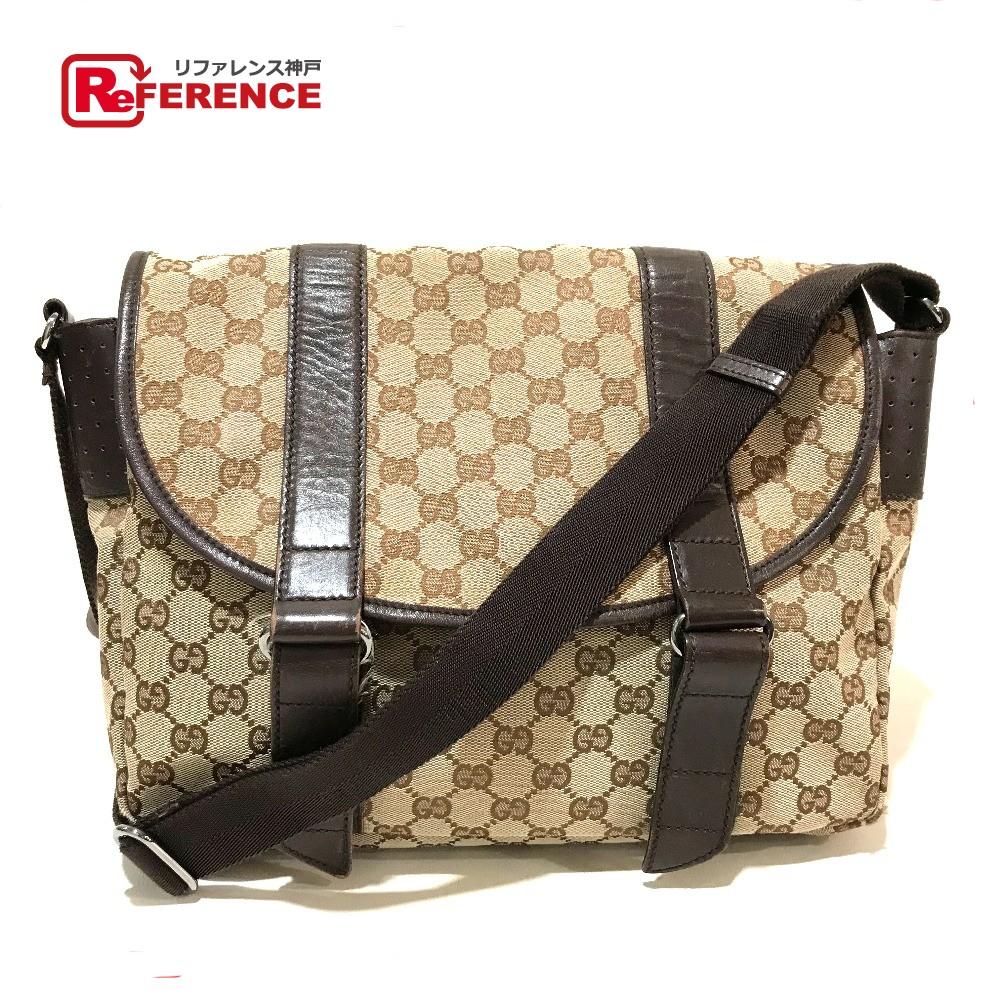 a4ffc2de850 AUTHENTIC GUCCI Messenger bag Crossbody bag Men's Women's Shoulder bag  Beige x brown Punching Leather/GGCanvas 145859