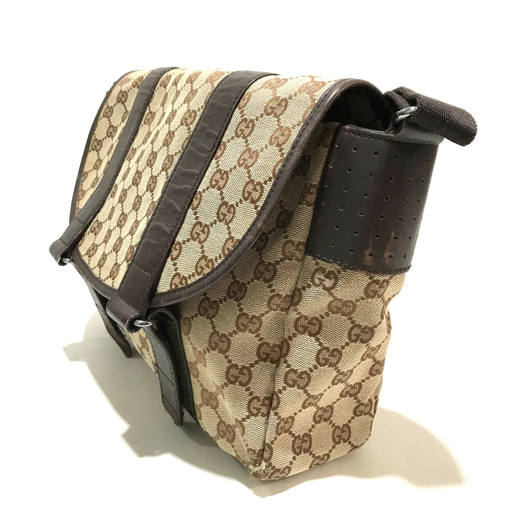 7be7d29fe ... AUTHENTIC GUCCI Messenger bag Crossbody bag Men's Women's Shoulder bag  Beige x brown Punching Leather/ ...